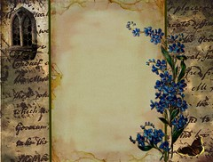 The Romantic (Cabinet of Old Secret Loves) Tags: butterfly graphicdesign forgetmenots digitaldesign oldpaper blogbackground digitalgraphics gothicwindow theromanticartist oldscriptures