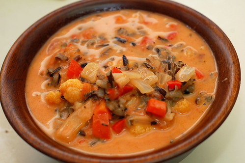 Creamy Red Bell Pepper Soup with Wild Rice