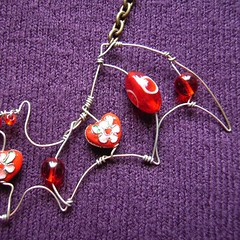 Red Bat - a beaded pendant
