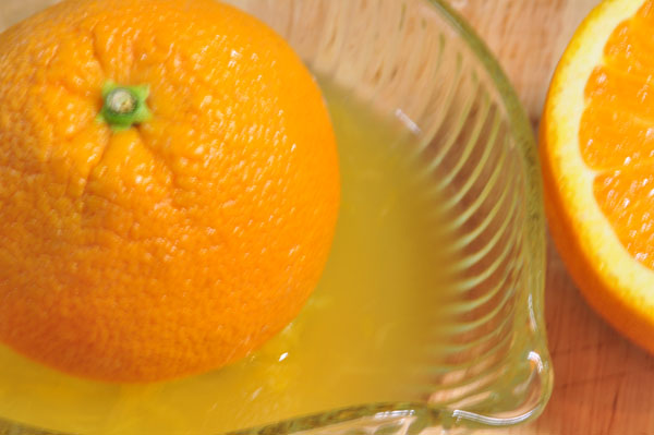 Squeezed navel orange