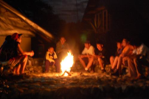 Bonfire outside the Log Cabin