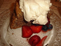 Almond Cake with Whipped Cream & Berries
