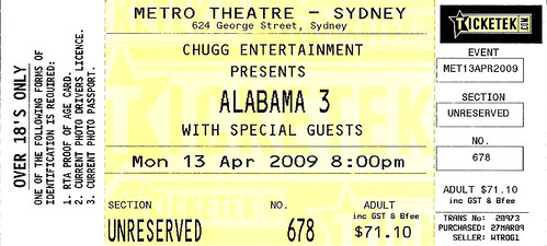 alabama 3 ticket