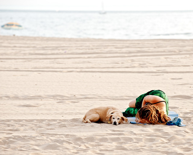 girl and pup sleeping on beach