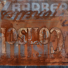 Tiiiiiin Roof....Rusted. (Love Shack, Baby Love Shack) (red_dotdesign) Tags: sign metal vintage typography rust painted weathered layers script serif sansserif