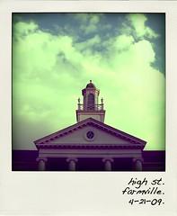 high st. (createourworld) Tags: sky tower colors beautiful clouds polaroid virginia interesting antique tint symmetry farmville rotunda longwood greentint poladroid longwooduniversity centralvirginia