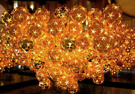 Veuve Cliquot Chandeliers, sustainable lighting, eco-friendly lighting, resource conservation furniture, recycled materials lighting