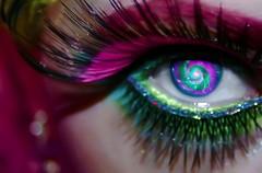 Cober (wisely-chosen) Tags: selfportrait macro eye me rainbow colorful makeup gimp april psychedelic 2009 swirly picnik falseeyelashes cameraraw adobephotoshopcs4 manicpanicredpassion coastalscentsultrashimmer88eyeshadowpalette hubbleimage