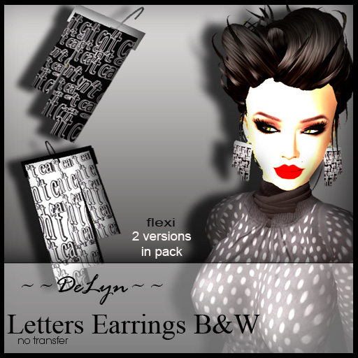 Letters Earrings by ~~DeLyn~~ [glow] Studio