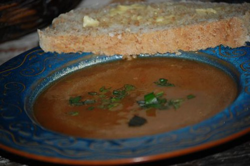 roasted eggplant and bell pepper soup