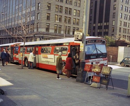 Metro bus at 4th and James, 1975. Seattle Municipal Archives/Flickr