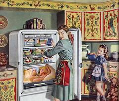 Sleep Tight (captainpandapants) Tags: cooking kitchen girl vintage ads advertising bed fridge women child sleep cook kitsch retro pillow 1940s refrigerator