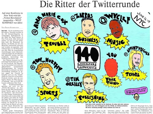 Die Welt Kompakt uses my illustration in 140 Characters Conference Story