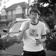 Romas (ted.kozak) Tags: portrait bw house 6x6 beer car yard mediumformat fuji cigarette front bmw neopan mate 120mm kiev88 romas acros selfdeveloped kozak explored volna3 tedkozak