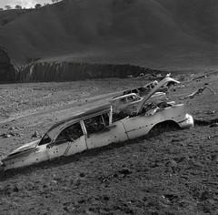 Lewis Creek, California (Dizzy Atmosphere) Tags: california montereycounty centralcalifornia sanlucas fujigs645s fujimediumformat automobileaslandscape