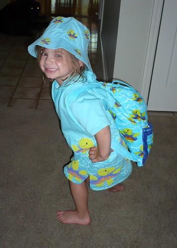 Alana models her swimming ensemble