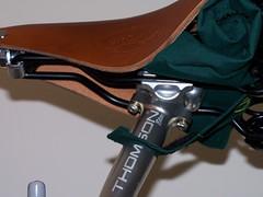 stowed saddle cover (woodelph) Tags: bicycle thomson custom saddle brooks handbuilt touringbike