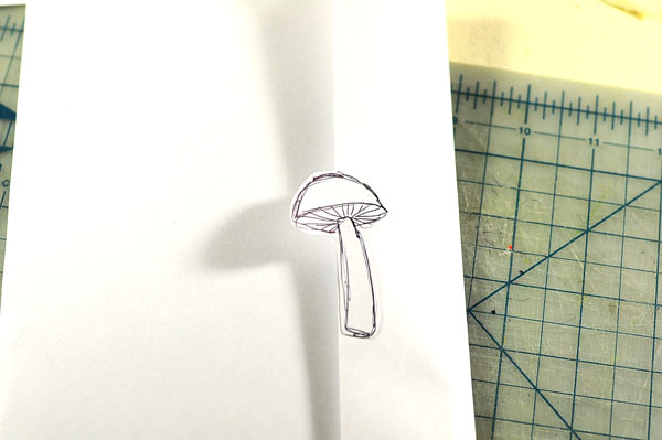mushroom log pop-up card envelope