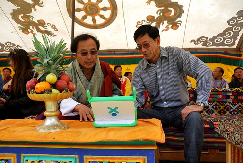 Anthony showing the XO to Dasho Kinley Dorji, Secretary of the Ministry of Information & Communications of the Royal Government of Bhutan