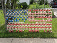 Chain Link Fence Art: American Flag