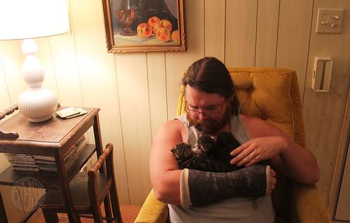 snugling the kittens