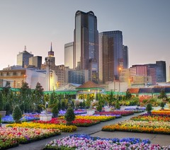 Downtown Dallas from the Flower Market (Stuck in Customs) Tags: lighting travel flowers light sunset wallpaper urban art texture love colors modern america skyscraper work buildings reflections garden painting dallas cool intense perfect colorful soft exposure downtown artist mood cityscape texas bright market vibrant background south surreal atmosphere romance innocence metropolis top100 portfolio tones magical hdr texan masterpiece twitter stuckincustoms d3x dallasite