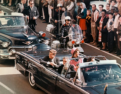 22 Nov 1963, Dallas, Texas, USA --- President and Mrs. John F. Kennedy minutes before assassination (VIETNAM Wartime Photos (up to 1968)) Tags: people usa men history death dallas women automobile texas president group governor crime murder vehicle northamerica americans males prominentpersons government leader whites procession females adults firstlady assassination motorcade policeofficer midadult middleaged middleagedman dallascounty midadultwoman historicevent northamericanhistoricalevent unitedstateshistoricalevent motorvehicle johnfitzgeraldkennedy governmentofficial politicalleader localgovernmentofficial jacquelinebouvierkennedyonassis assassinationofpresidentkennedy1963 fordautomobile fordlincoln johnbconnally