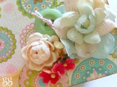 millinery embellishment (Sugar*Sugar) Tags: pink flowers altered vintage scrapbook scrapbooking book aqua sweet lace mixedmedia journal trim embellishments millinery sugarsugar papercrafting