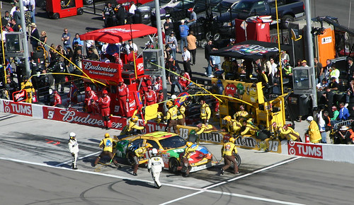 Kyle Busch pits during the race