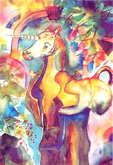 Art: watercolour: ...between dream and reality... (Nadia Minic) Tags: watercolor interestingness nadia symbol sleep memories dream watercolour luxembourg unicorn farbig symbolic einhorn erinnerung mrchen color sommeil artiste schlaf peintre aquarell traum rve minic acquarello aquarellistin aquarellmalerin
