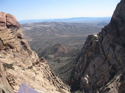 A view from one of the few decent sitting ledges on Eagle Dance, Red Rock NV.