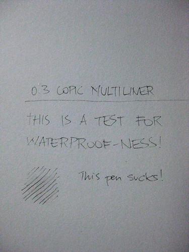 Copic Multiliner waterproof-ness