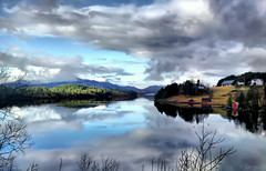 Cell phone scenery! (larigan.) Tags: sea clouds reflections farm fjord boathouses naust skodje larigan phamilton damniwishidtakenthat c905 gettyimagesnorwayq1