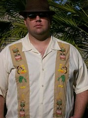 Big Daddy in his tiki Shirt (anyakase1) Tags: yellow shirt hula tiki shag handembroidery tattoohandembroidery