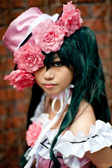 Ciel from Kuroshitsuji cosplay at the Seoul Korea comic world convention (Derekwin) Tags: pink portrait anime flower brick green hat zeiss hair costume nikon comic cosplay korea ciel korean seoul gangnam zf yangjae 85f14 d700 nikond700 zeiss85f14zf