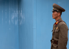 North korean army watching South - DMZ North Korea (Eric Lafforgue) Tags: pictures travel soldier army photo war asia profile picture korea kimjongil unitednations asie southkorea tension dmz frontier journalist soldat journalists northkorea armee  dprk coreadelnorte gyeonggi juche kimilsung panmunjeom nordkorea 9062 lafforgue panmunjon 38thparallel  militarydemarcationline ericlafforgue   coredunord coreadelnord koreandemilitarizedzone  northcorea coreedunord rdpc  insidenorthkorea  rpdc   coriadonorte  kimjongun coreiadonorte
