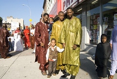 Muslim holiday 4 (mcconnellbrown) Tags: street family portrait usa holiday newyork man color smile brooklyn colorful african muslim islam headscarf eid hijab mosque celebration africanamerican borough immigrant hegab