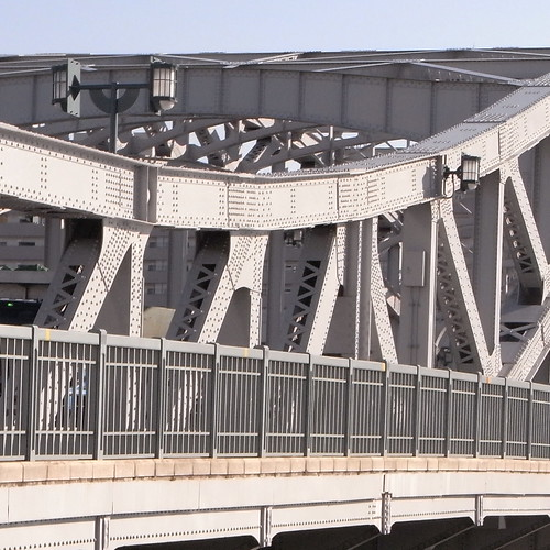 Shirahige-bashi bridge with curvy iron