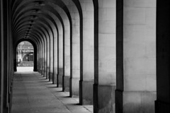 The Walk (Peter Levy) Tags: light blackandwhite manchester path arches townhall manchestertownhall