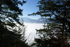 Just a peek at the peaks (vauvau) Tags: blue schnee trees winter sky sun snow mountains alps schweiz switzerland shadows himmel berge liechtenstein alpen blau sonne bume schatten glaring grell