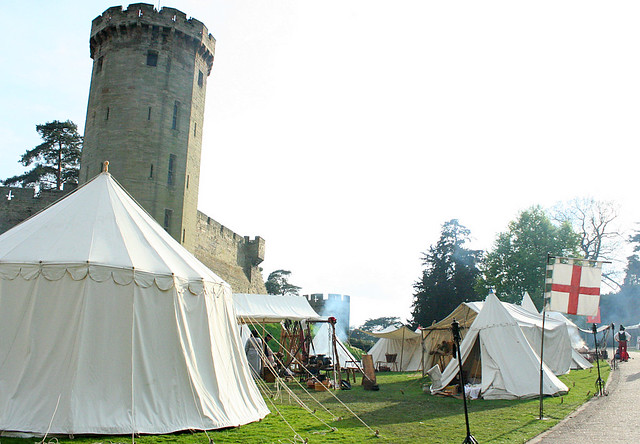 Warwick Castle with re-enactment camp