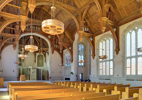 Former Daughters of Charity chapel, at the University of Missouri - Saint Louis, in Normandy, Missouri, USA - view of nave from side 1a
