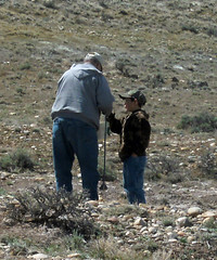 Discussing Rocks (wyo92) Tags: family rock hunting grandfather grandson badlands wyoming hounding worland