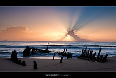 The Morning Star. ([ Kane ]) Tags: morning sun beach water clouds dawn sand waves ship australia qld queensland rays kane caloundra ssdicky gledhill kanegledhill kanegledhillphotography