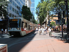 walking and transit are both popular in Portland (courtesy of Reconnecting America)