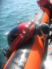 diver aboard (squeezemonkey) Tags: diver rib drysuit littlehampton holborndiver