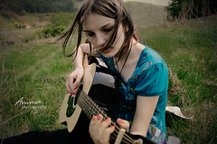 My song is love (Amma. StephieVal) Tags: blue music playing cute nature girl grass forest hair peace singing wind guitar song peaceful sensual effect carmen graceful amma outofmymind musicforoureyes