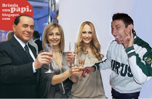 Silvio Berlusconi and Noemi Letizia partying at at Berlusconi's Sardinian villa