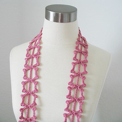lace leaf Scarflette - Women Cotton Blend Lariat Summer Scarf/Scarflette in Rose (kanokwalee) Tags: pink rose scarf women handmade lace unique crochet jewelry accessories lariat necktie whimsical scarflette fibernecklace