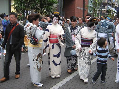 Geisha appear during Sanja Matsuri